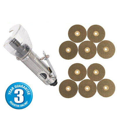 "3"" Air Cut Off Tool Grinder Cutter Tools + 10 Cutting Discs 3Yr Warranty"