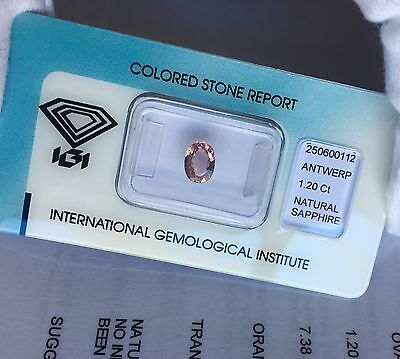 NATURAL Ceylon ORANGE Purple PINK Sapphire 1.20ct IGI CERTIFIED Untreated