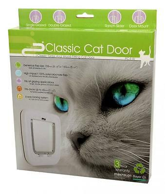 Cat Flap White 4 Way Locking Door Fits Glass Wood Single Glazed Double Glazed