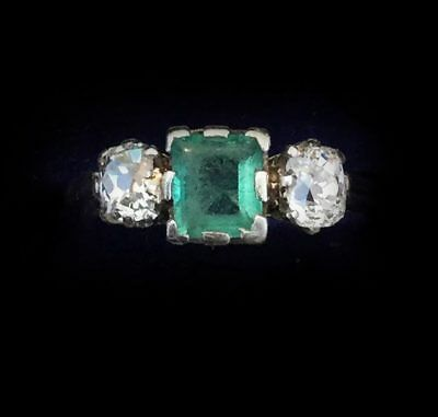 Art Deco 18ct Gold Emerald & Diamond 1.10ct three stone engagement ring, C1920
