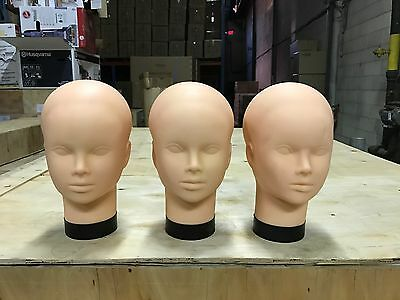 3 Pcs USED Plastic Mannequin Heads Life Size Display #TRAIN03 x3