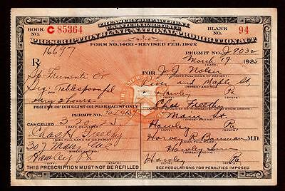 Antique 1925 Whiskey Booze Prohibition Prescription Doctor Pharmacy Nolan PA Bar