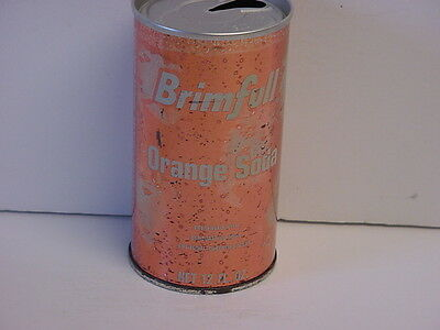 Vintage Brimfull Orange Soda Straight Steel Pull Tab Top Opened Pop Can