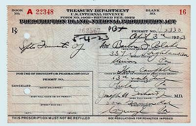 Prohibition Prescription Whiskey Blake 1923 Pharmacy Doctor Bar Philadelphia PA