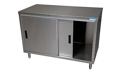 "BK Resources 72""x 24"" 18G S/s Work Table Cabinet Base w/ Sliding Doors"