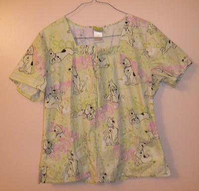 Scooby Doo! Womens XL Green Scrub Uniform Medical Top