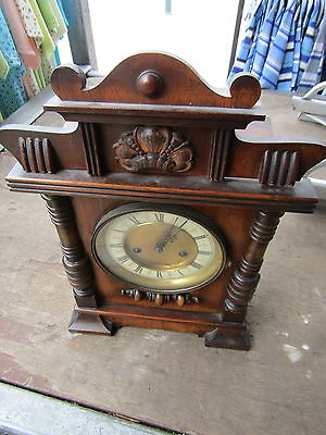 Antique German H.a.c. Bracket Clock In Mahogany 14 Day Movement