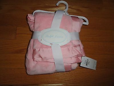 Ralph Lauren Layette Baby Girls Powder Pink Plush Security Blanket NWT $45