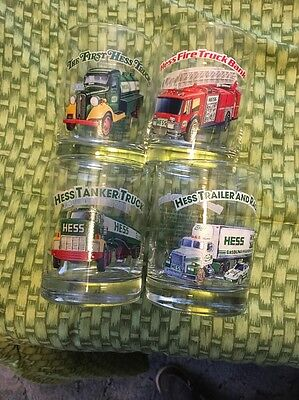 HESS 1996 Classic Toy Truck Series Glasses (set of 4 Drinking/Rocks Glass) MINT!