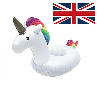 Inflatable Unicorn Floating Swimming Pool Bath Toy Beach Drink Can Cup Holders