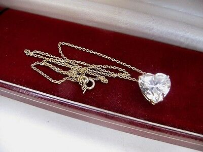 9ct Gold On 925 Sterling Silver Love Heart Gemstone Pendant Chain Necklace 375