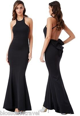Goddess Black Backless Bow Detail Fishtail Party Evening Prom Dress Bridesmaid