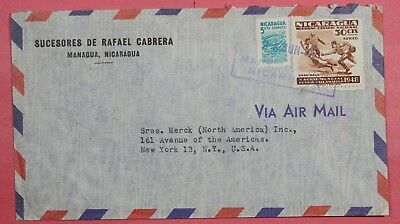 1951 Nicaragua Airmail Cover To Usa