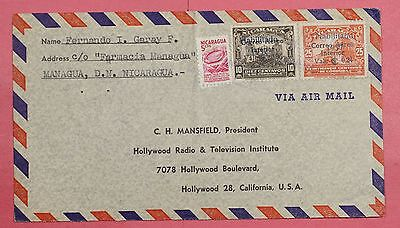 1953 Nicaragua Tri Franked Airmail Cover Managua To Usa