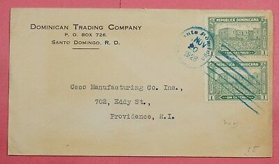 1928 Dominican Republic Bi-Franked Cover To Usa