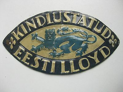 ANTIQUE 1930 s. INSURANCE TIN SIGN  Estonia Lloyd