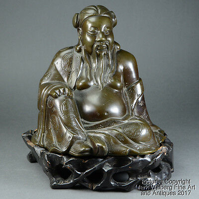 Chinese Bronze Seated Figure of Immortal, Hand Chased, Late 19th to Early 20th C