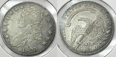 1829 Capped Bust Half Dollar, Problem-free AU/BU, O-112, #L20