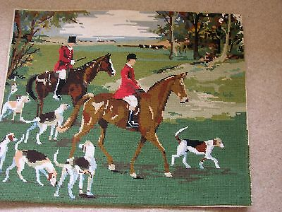 """Vintage hand worked unframed tapestry of a hunting scene. 22"""" x 17"""" horse hounds"""