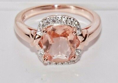 Beautiful 9 Ct Rose Gold On Silver Morganite & Diamond Cocktail Ring - Size Q