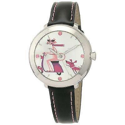 Pink Panther Women's PP01 40th Anniversary by Shag Black Genuine Leather Strap