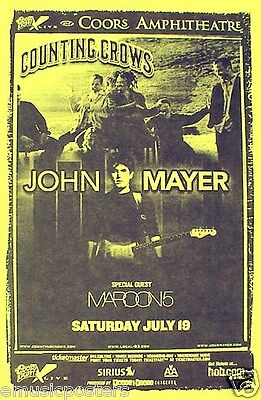 Counting Crows / John Mayer / Maroon 5 2004 San Diego Concert Tour Poster