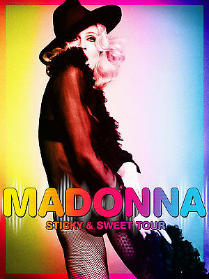 """MADONNA """"STICKY & SWEET TOUR"""" POSTER - Wearing Hat & Fishnets!"""