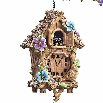 Hanging Cuckoo Clock Bird House Clock Sculpture Birdhouse Garden Decor NEW