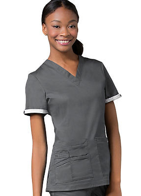 Maevn Scrubs #1722 V-Neck Scrub Top in (Pewter) Size XL