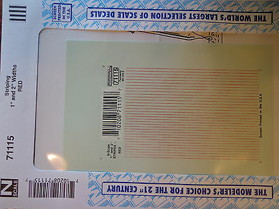 """4/"""" and 6/"""" Widths Microscale Decal N #71135 Stripes Red"""