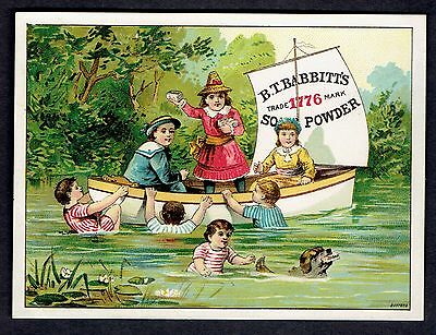 Trade Card ~ B.T. Babbitt's Soap Powder ~ Girl In Boat Throws Soap To Kids