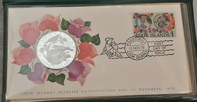 1978 Cook Islands First Day Cover $5 Silver Coin and Stamp