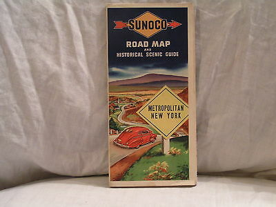 Late 1940's Sunoco Road Map For Metropolitan New York