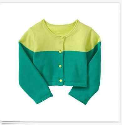 Nwt Baby Gap Girls Green Color Block 3-6-12 Months Cardigan Sweater New