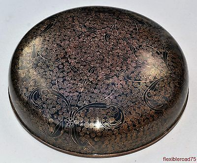 "Antique Chinese Cloisonné Large Unique Lid or Bowl 7.5"" 19 cm"