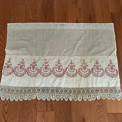 Antique Vintage White & Red Work Crochet Lace Curtain Panel
