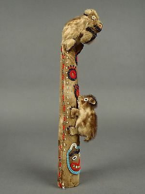 RARE! Tlingit BEADED FUR TOTEM POLE 13+in Early 1900s Native Northwest NWC 38