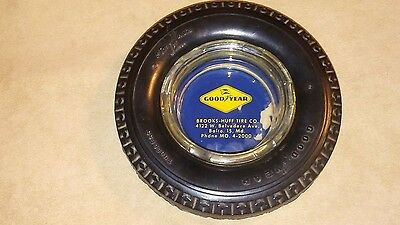 Vintage Goodyear Brooks - Huff Tire Co. Adv. Rubber Tire Ashtray Baltimore , MD.