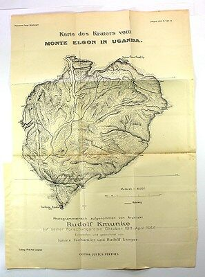 1913 MAP-CRATERS OF MONTE ELGON IN UGANDA -Africa,Mountaineering
