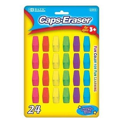 1 Pack of 24 BAZIC Caps Erasers Rubber Pencil Toppers Novelty Stationery NEW