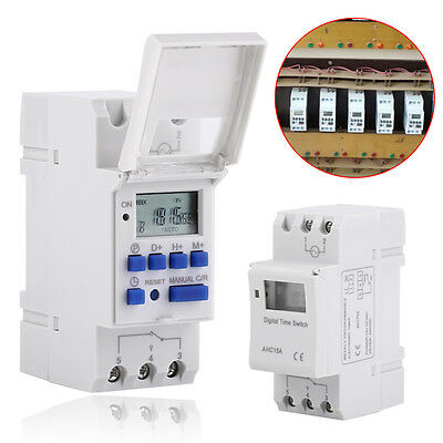 AHC15A DIN Rail Mounting LCD Digital Programmable Timer Switch 12-220V 16 ON/OFF
