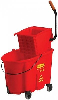 Mop Bucket 35 Qt. Side-Press Wringer Cleaning Supplies Non Marking Wheels Red