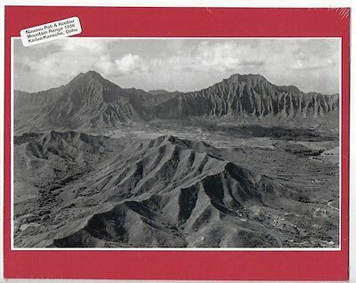 1930's PALI RIDGE & KANEOHE, OAHU. BLACK AND WHITE PHOTO ON RED 8x10 MAT
