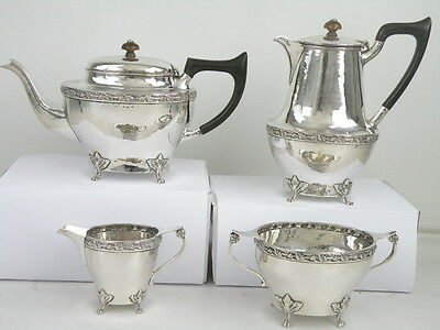 A E JONES 4 Piece Silver TEA & COFFEE SERVICE SET 1920 Arts & Crafts spot hammer