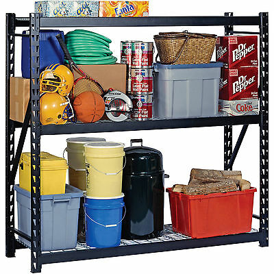"NEW! Edsal 72""H x 72""W x 24""D Steel Welded Storage Rack Black Shelving Unit"