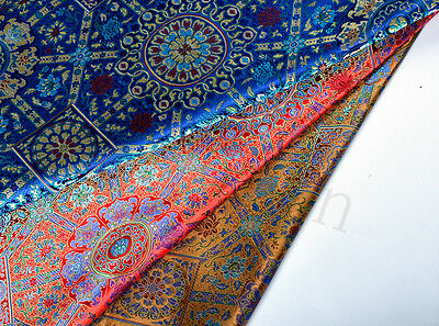 "Mysterious 28"" Damask Silk Brocade Satin Fabric : Sino-Persian Vintage Lotus"