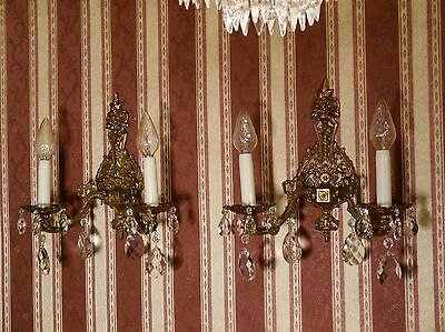 pair french fine 2 light brass wall lamps sconces fixtures crystal