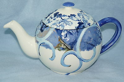"""Gien France Chaise Bleue Teapot with Lid- 4 1/4"""""""