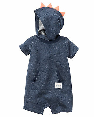 Carters 3 6 9 12 18 24 Months Dinosaur French Terry Romper Baby Boy Clothing