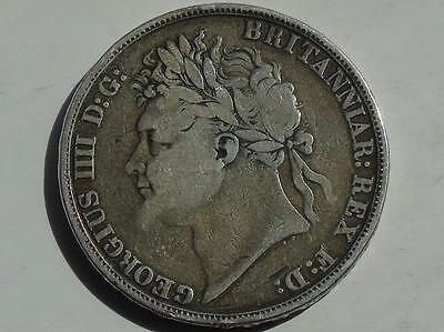 1821 George IV Silver Crown S3805 - Secundo, Good Detail Dark Tones Exmount